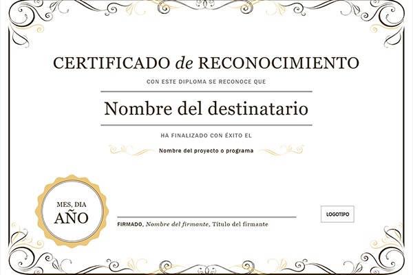 Certificado de reconocimiento ejemplo de certificado