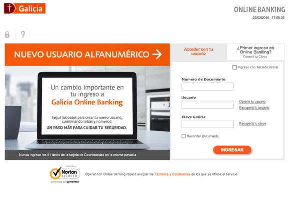 Galicia Home Banking – Consultar Saldo