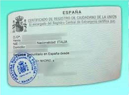 Certificado de Registro de Ciudadano de la Unión