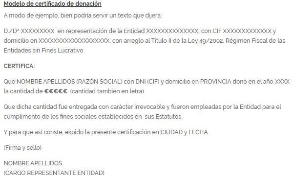 Certificado de Donación modelo