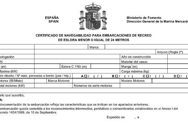 Certificado de Navegabilidad Gobierno