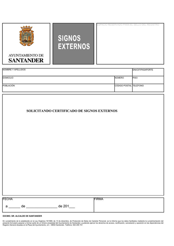 Requisitos para obtener el Certificado de Signos Externos