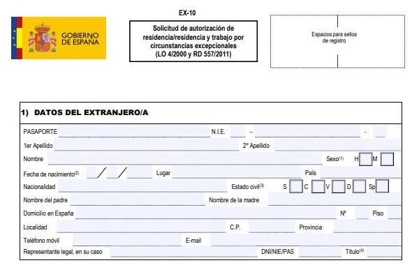 Formulario EX 10 ejemplo datos extranjero