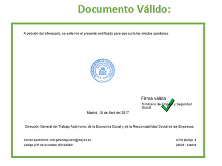 Certificado Garantía Juvenil