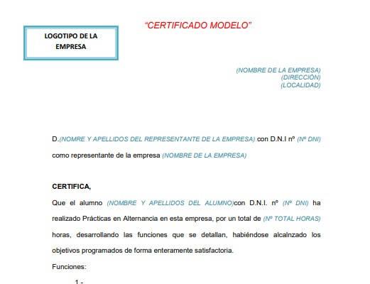 Certificado de Empresa modelo