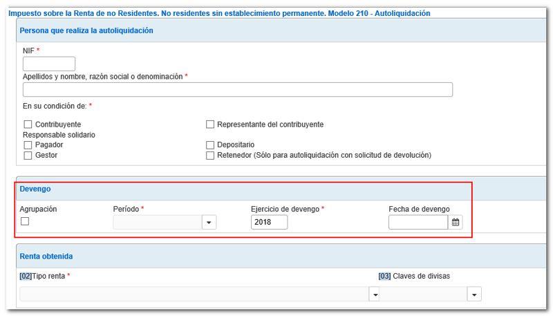 formulario 210 hacienda